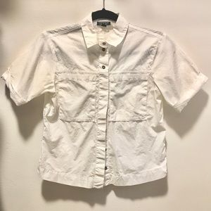 Top shop white boxy button up